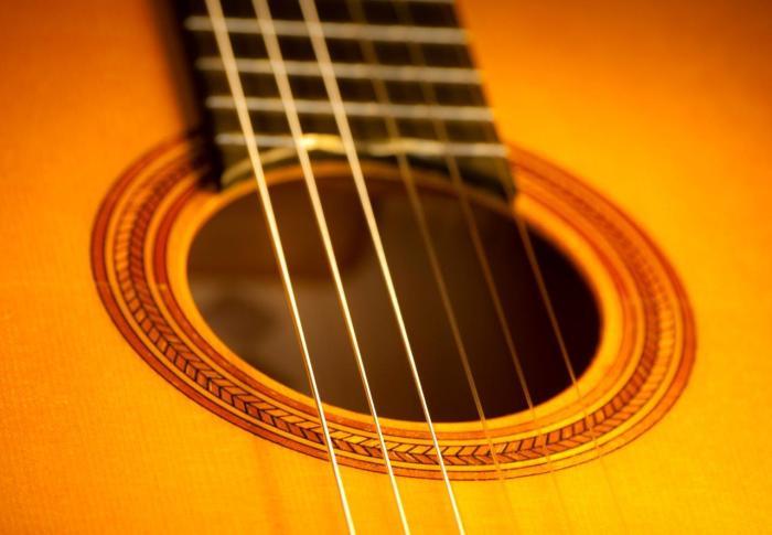 Guitarra de ciprés y pino abeto. Tinte en color oro. Detalle.